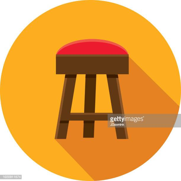 craft beer bar stool flat design themed icon with shadow - stool stock illustrations, clip art, cartoons, & icons