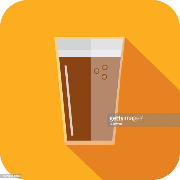 craft beer beer pint glass flat design themed icon with shadow - lager stock illustrations, clip art, cartoons, & icons