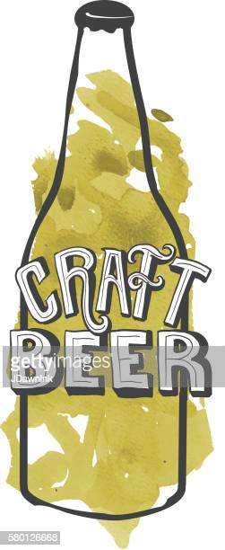 craft beer bottle label hand lettering design - artisanal food and drink stock illustrations, clip art, cartoons, & icons