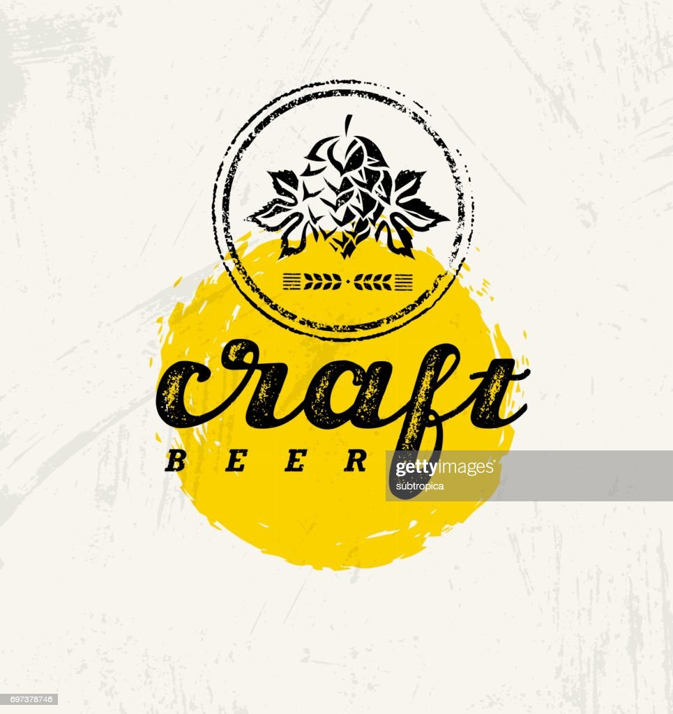 Craft Beer Brewery Artisan Creative Vector Stamp Sign Concept. Rough Handmade Alcohol Banner. Menu Page Design