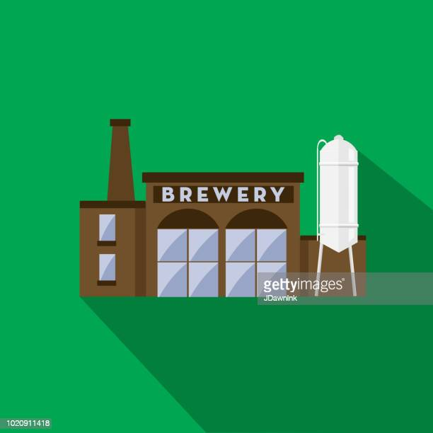 craft beer brewery exterior flat design themed icon with shadow - brewery stock illustrations, clip art, cartoons, & icons