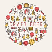 Craft beer concept with thin line icons in circle for brewery and beer october festival. Modern vector illustration for banner, web page, print.
