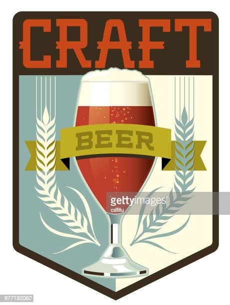 craft beer crest - brewery stock illustrations, clip art, cartoons, & icons