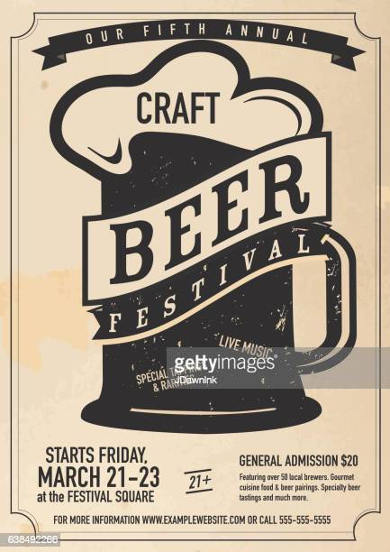 craft beer festival poster design template - beer glass stock illustrations, clip art, cartoons, & icons