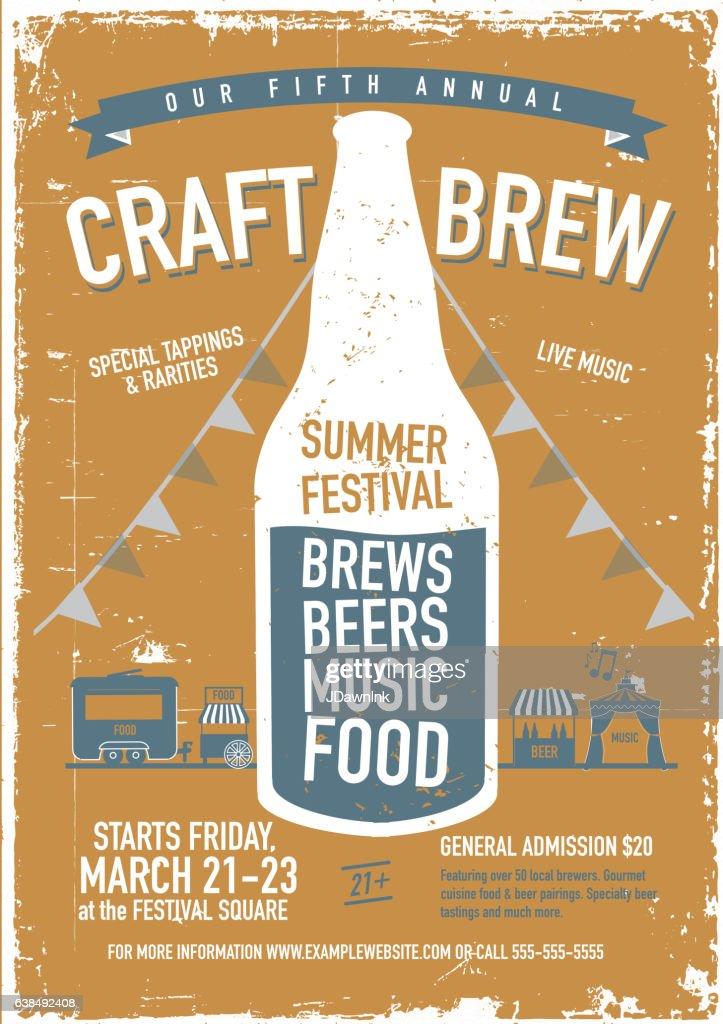 craft beer festival poster design template high