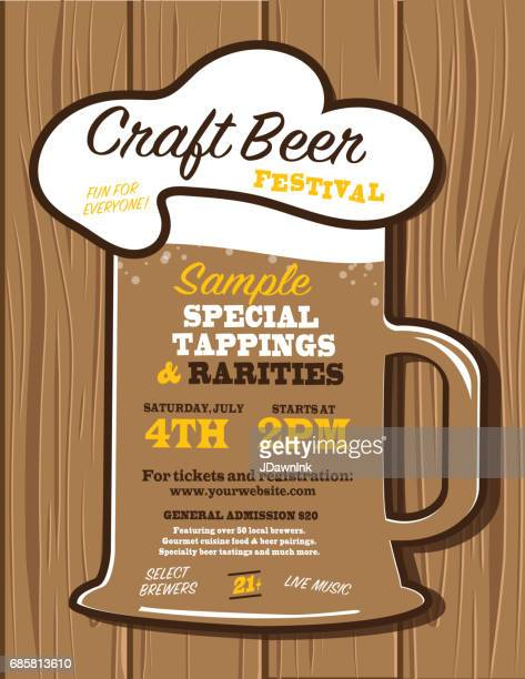 craft beer festival poster design template - artisanal food and drink stock illustrations, clip art, cartoons, & icons