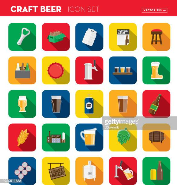 Craft beer Flat Design themed Icon set with shadow