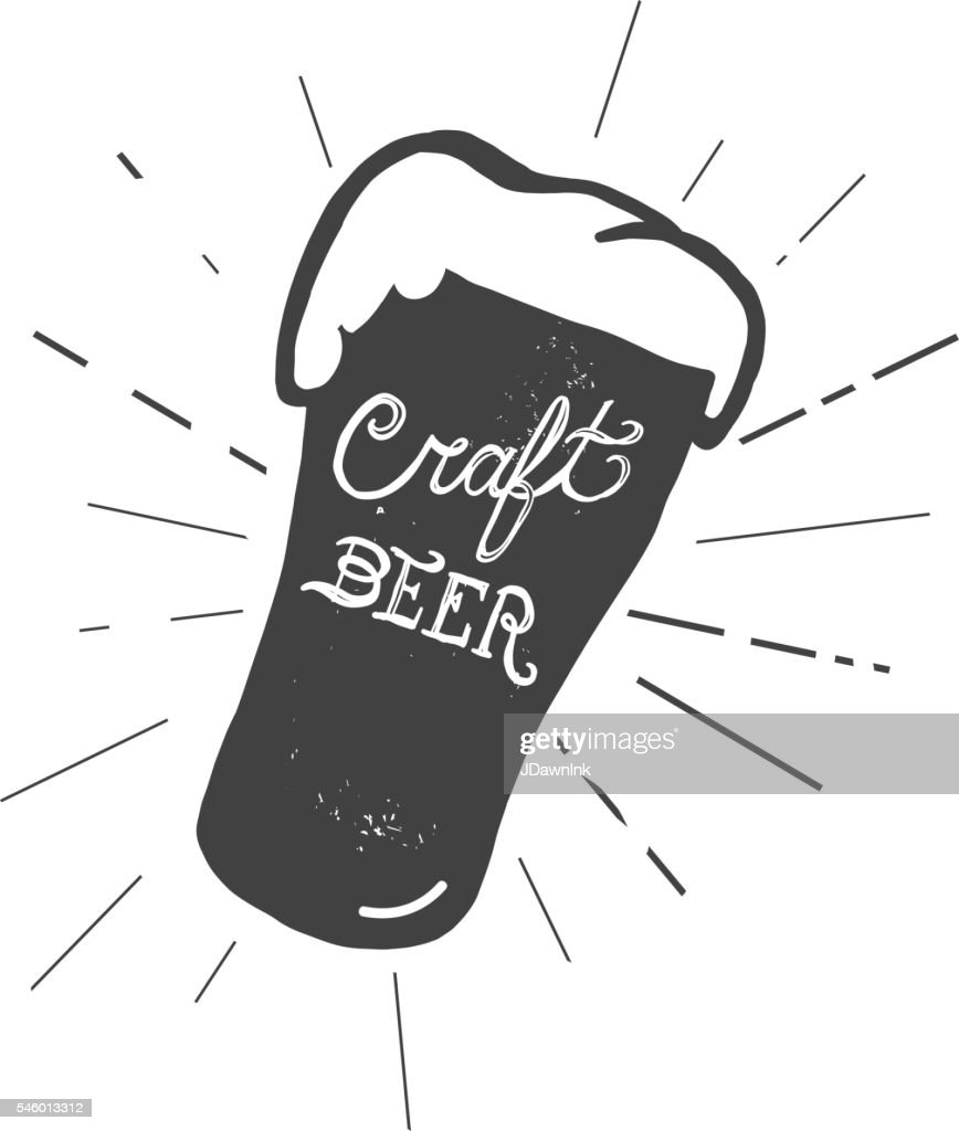 Craft beer glass label hand lettering design : stock illustration