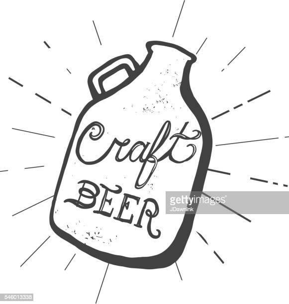 craft beer jug label hand lettering design - artisanal food and drink stock illustrations, clip art, cartoons, & icons