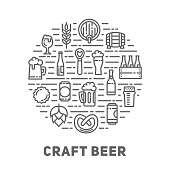 Craft beer line art poster.