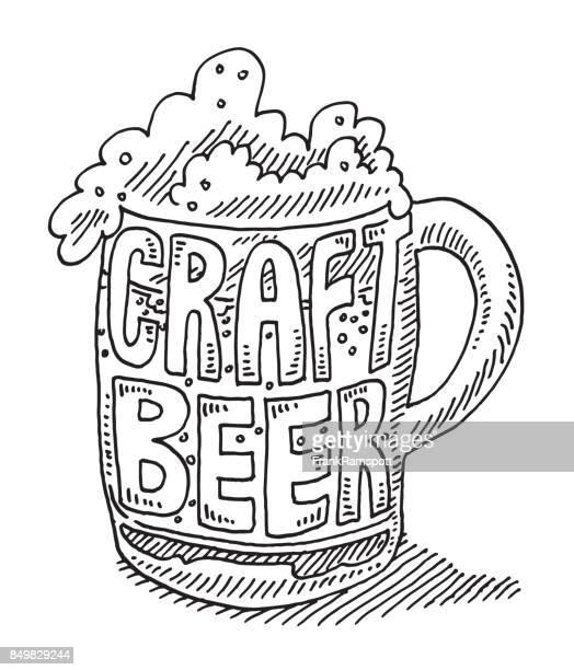 craft beer mug drawing - artisanal food and drink stock illustrations, clip art, cartoons, & icons