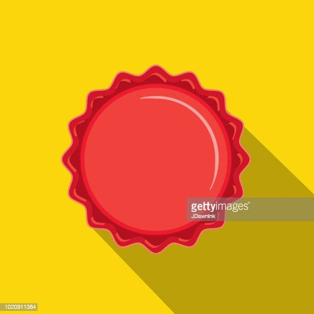 craft beer red bottle cap flat design themed icon with shadow - cap stock illustrations