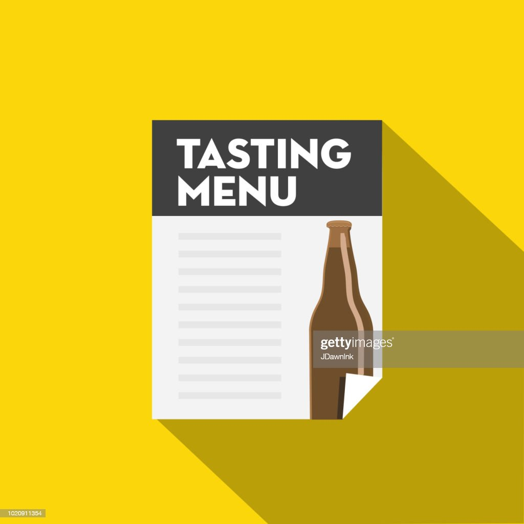 Craft Beer Tasting Menu Flat Design Themed Icon With Shadow Vector