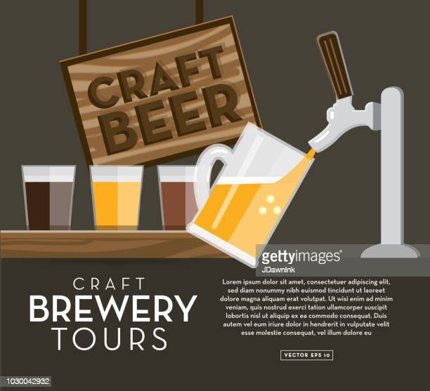 Craft brewery banner design template with placement text