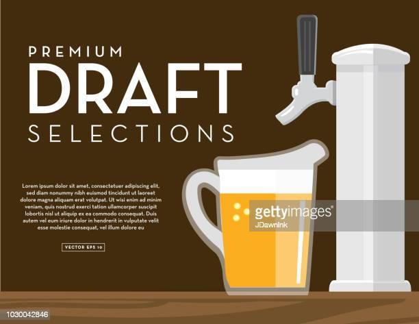 Selecciones de arte cervecería bandera proyecto diseño de plantilla con el texto de colocación