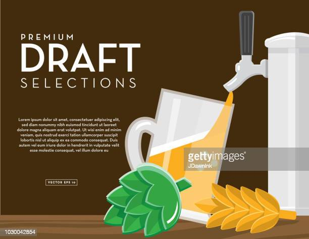 Craft brewery banner draft selections design template with placement text