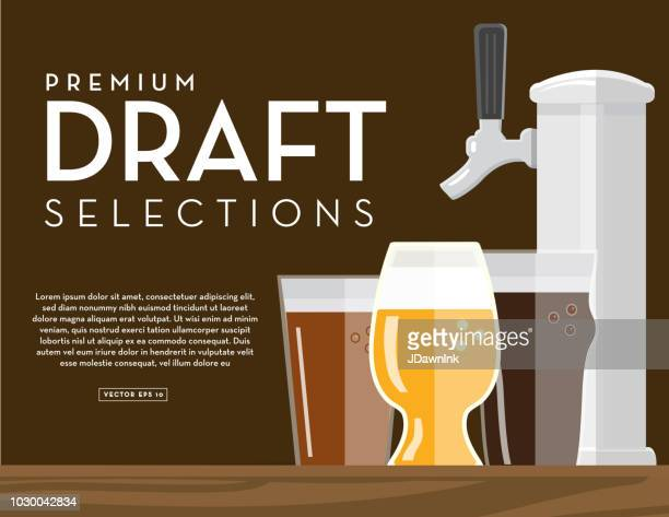Craft brewery draft selections banner design template with placement text