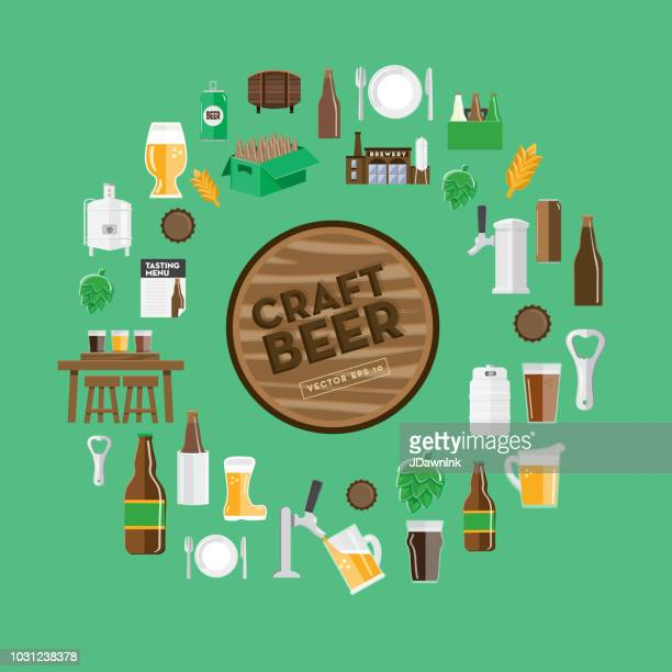 Craft brewery icon background design template with placement text