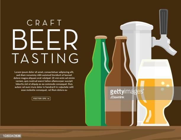 Cervecería artesanal, degustación de plantilla de diseño de banner con texto de colocación