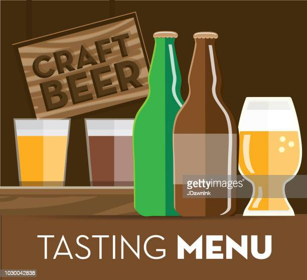 Craft brewery tasting menu banner design template with placement text