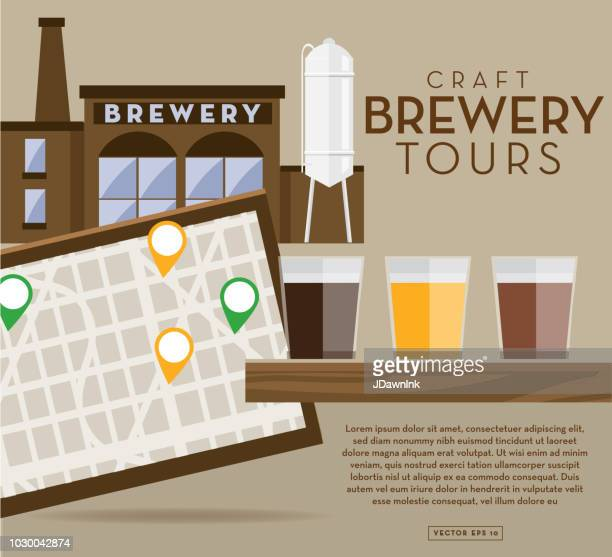 Craft brewery tour banner design template with placement text