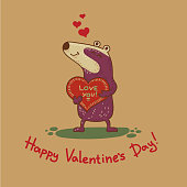 Craft doodle tribal greeting card with badger.