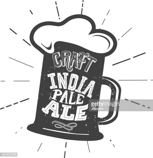 craft india pale ale beer mug label hand lettering design - india pale ale stock illustrations, clip art, cartoons, & icons