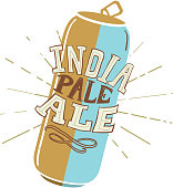 Craft India Pale Ale Tall Can label hand lettering design