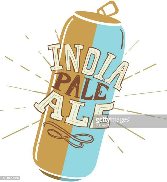 craft india pale ale tall can label hand lettering design - india pale ale stock illustrations, clip art, cartoons, & icons
