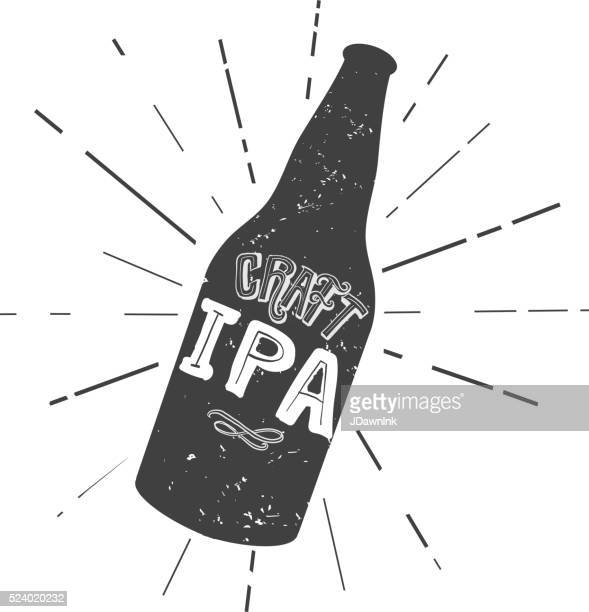 craft ipa beer bottle label hand lettering design - india pale ale stock illustrations, clip art, cartoons, & icons