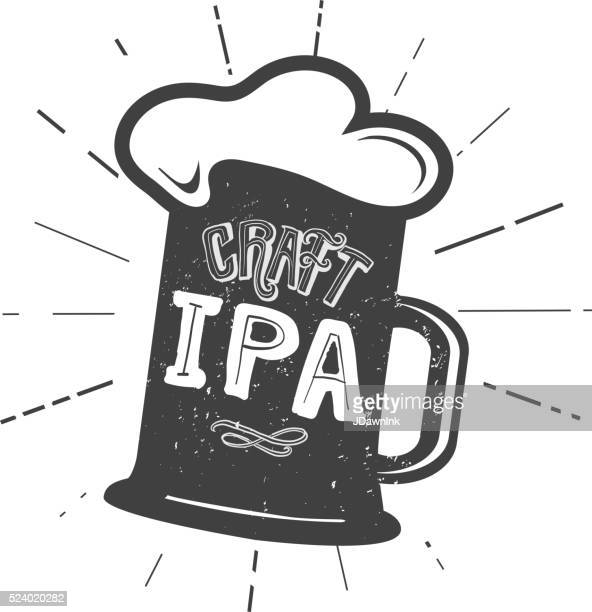 craft ipa beer mug label hand lettering design - india pale ale stock illustrations, clip art, cartoons, & icons