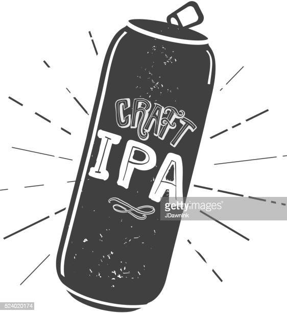 craft ipa tall can label hand lettering design - india pale ale stock illustrations, clip art, cartoons, & icons