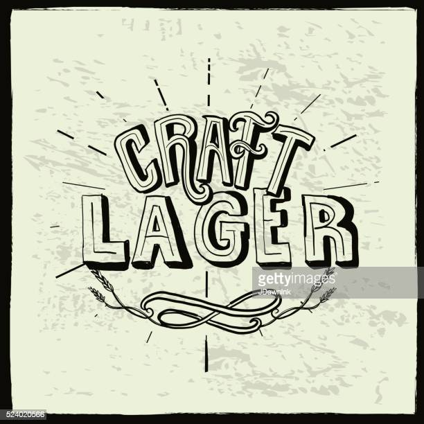 craft lager beer label hand lettering design - artisanal food and drink stock illustrations, clip art, cartoons, & icons
