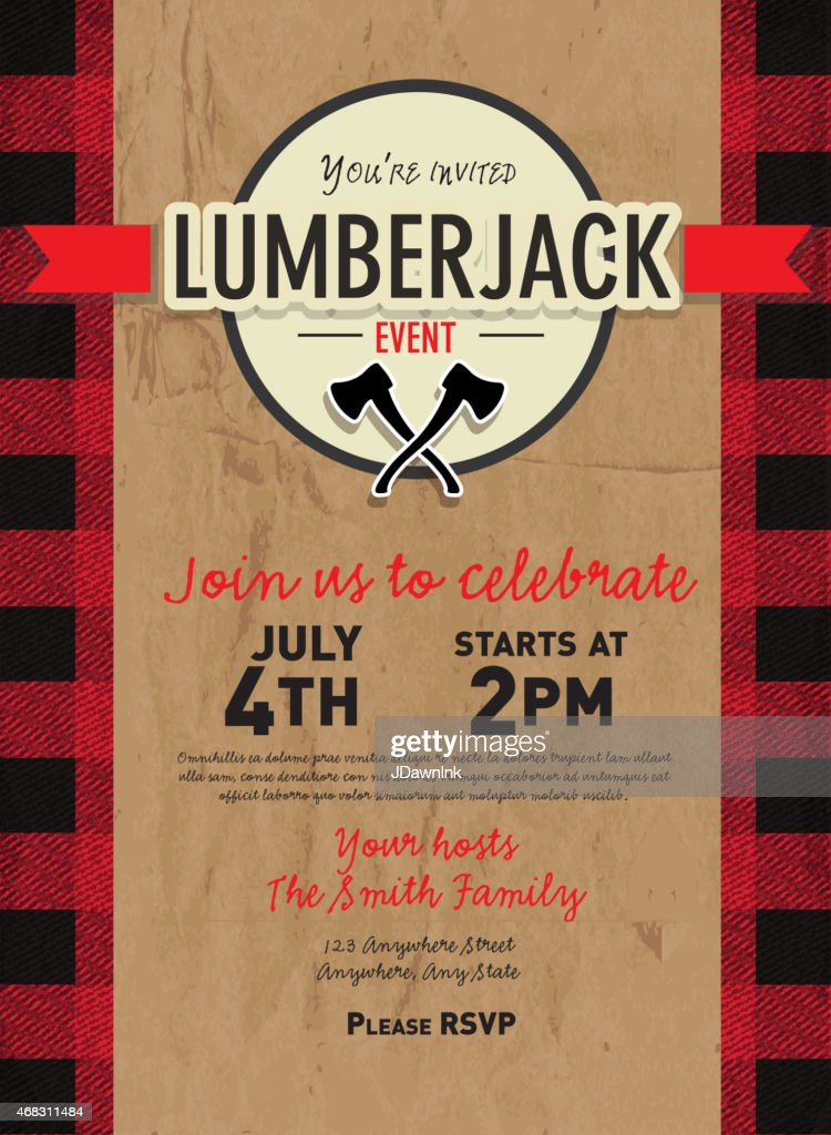 Craft paper Lumberjack party invitation design template