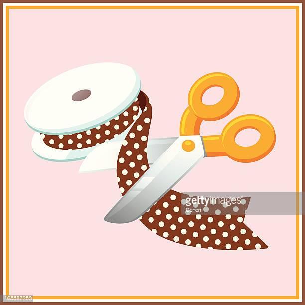 Craft Project: Scissors Cutting a Brown Polka Dot Ribbon
