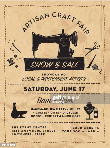 craft show and sale poster advertisement design template - sewing machine stock illustrations, clip art, cartoons, & icons