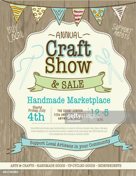 craft show and sale poster design template - art and craft stock illustrations