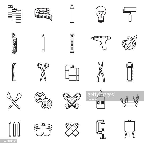Craft Supplies Thin Line Icon Set