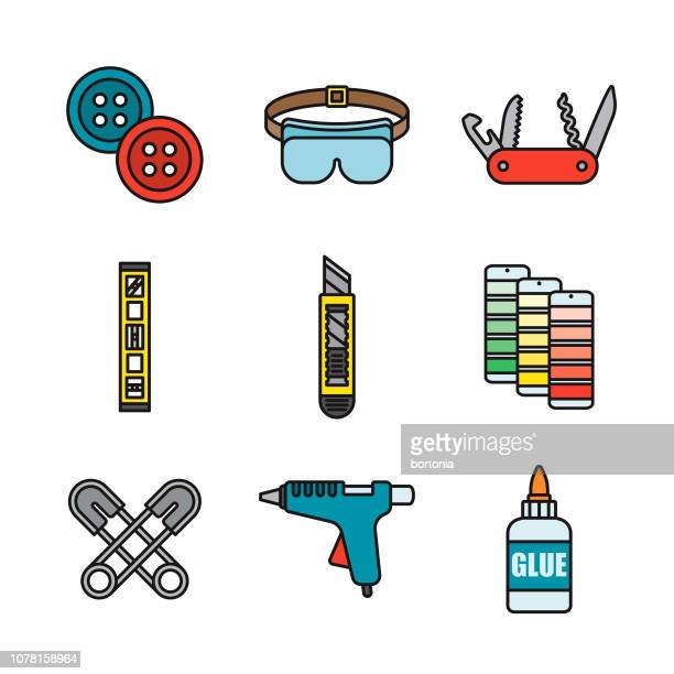 Crafting Supplies Thin Line Icon Set
