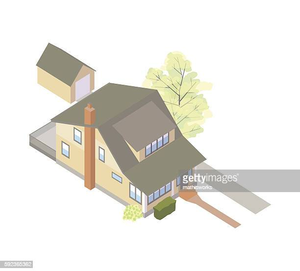 craftsman bungalow house illustration - mathisworks architecture stock illustrations