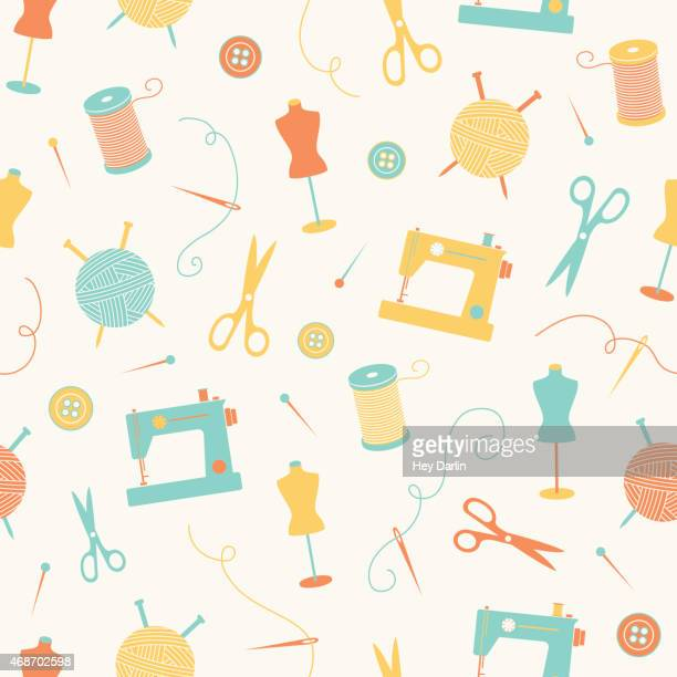 crafty seamless pattern - sewing machine stock illustrations, clip art, cartoons, & icons