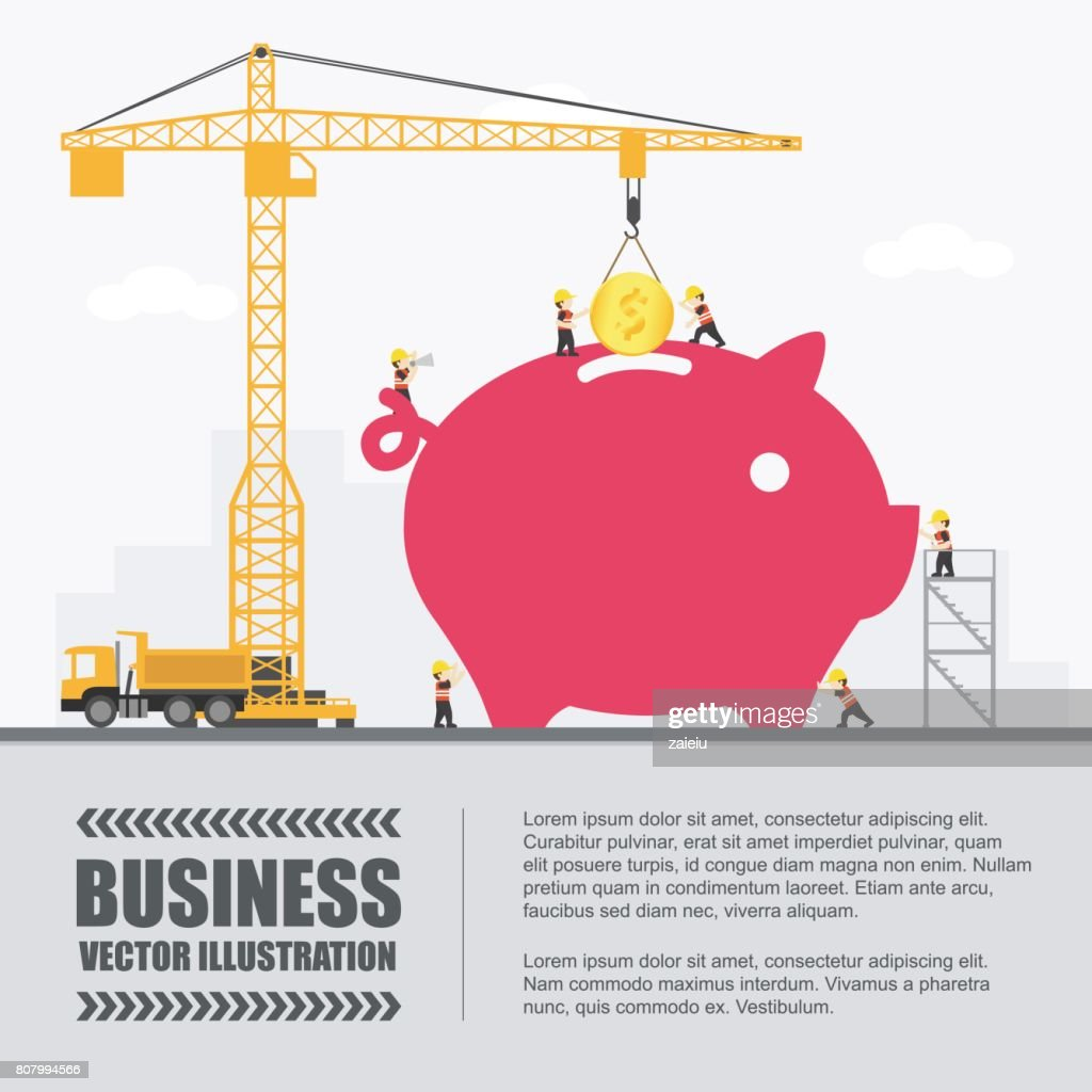 Crane and piggy bank building. Infographic Template. Vector Illustration.