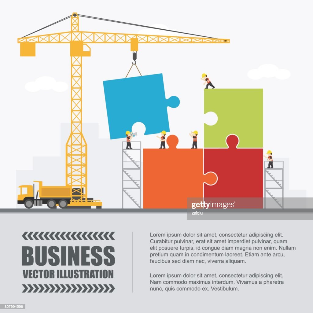 Crane and puzzle building. Infographic Template. Vector Illustration.