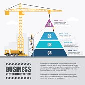 Crane and pyramid building. Infographic Template. Vector Illustration.