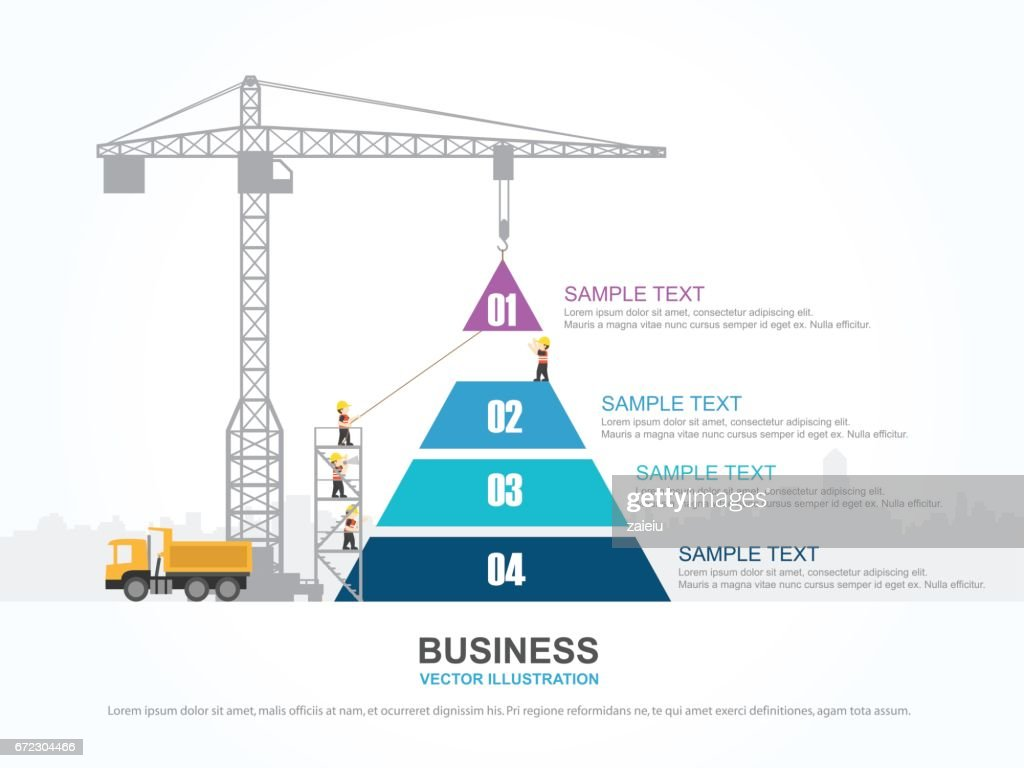 Crane And Pyramid Graph Infographic Template Vector Illustration ...