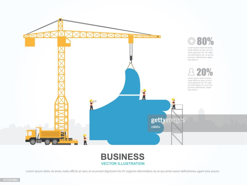 Crane And Social Building Infographic Template Vector Illustration ...