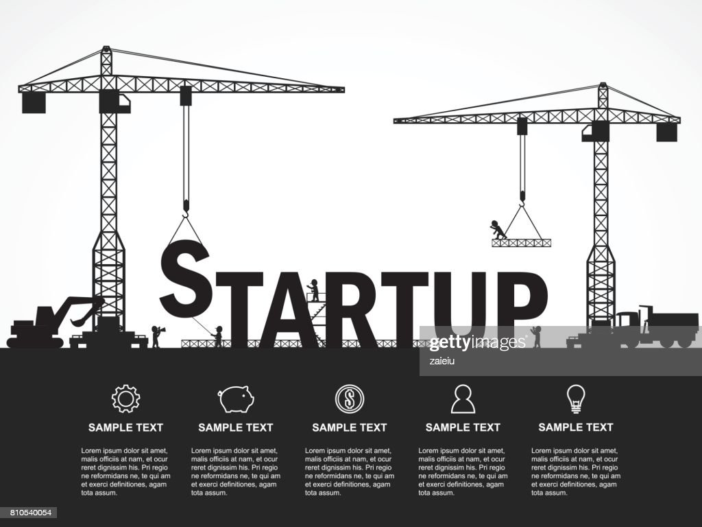 Crane And Startup Building Infographic Template Vector Illustration ...