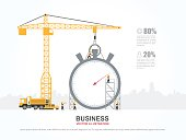 Crane and stopwatch building. Infographic Template. Vector Illustration.