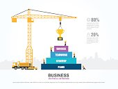 Crane and success building. Infographic Template. Vector Illustration.