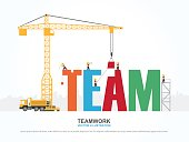 Crane and team building. Infographic Template. Vector Illustration.